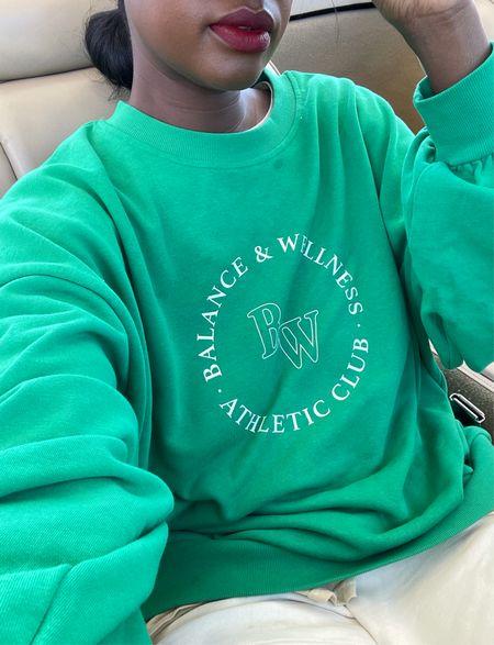 Great oversized sweatshirt for fall  Green balance and wellness graphic sweatshirt.   #LTKunder50 #LTKfit #LTKstyletip