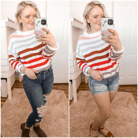 Striped sweater, amazon sweater, amazon fashion, distressed jegging, high waisted Jegging, distressed shorts, high waisted shorts, http://liketk.it/2LpYC #liketkit #LTKspring #LTKstyletip #LTKunder50 @liketoknow.it mom uniform, spring outfit, summer outfit, casual stile, affordable, budget friendly, spring transition, transition piece