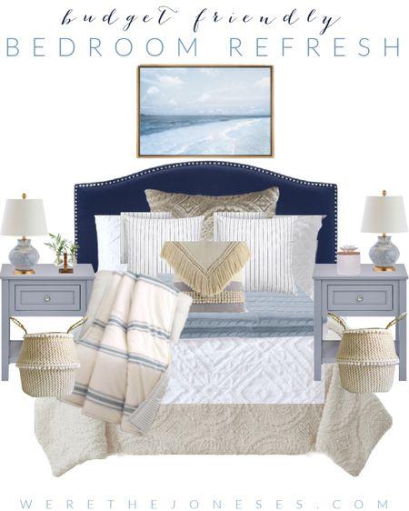 Budget friendly guest bedroom makeover - all bedding and bedroom decor is from @walmart!  . . Home decor, bedroom decor, bedding, Walmart decor, blue and white decor, modern bedroom   #LTKunder50 #LTKhome #LTKunder100