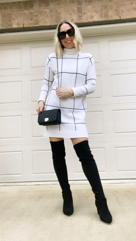"""Sweater Dress outfit ideas  for Fall and Winter!  The black & white grid dress and blue mock wrap dress are actual sweater dresses; the other two are long or oversized sweaters that I'm wearing as a dress.  I'm 5'3"""" for reference.   Dress 1) oversized white batwing sweater - using their sizing chart I'd be an XS but got in S so I could also wear as a dress.  It's still very short but I think it looks cute with boots - I also wear with leggings.  2) black & white turtleneck sweater dress - so warm and cozy - would look great for the holidays or family photos. True to size - wearing the XS/S.  3) mock wrap knit mini dress - this dress comes in lots of colors - can be worn on or off the shoulder.  True to size -wearing small.  Belt is removable . Thicker or heavier material - better for cooler weather.  4) leopard print sweater - I wear this as a sweater with leggings but also with boots as a sweater dress.  Got my true to size small in this one.        Sweater , sweater dress , sweater dresses , amazon fashion , amazon dress , fall outfits , winter outfit , holiday outfit , holiday dresses , wedding guest dress , cocktail dress, Christmas dress , Chicwish , Chicwish dress , amazon find #ltkitbag #ltkshoecrush #ltksalealert #ltkunder100  #LTKunder50 #LTKstyletip #LTKHoliday"""