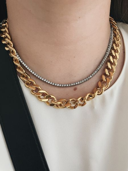 thick curb chain and faux diamond tennis necklace #curbchain #chain  #LTKunder100 #LTKunder50