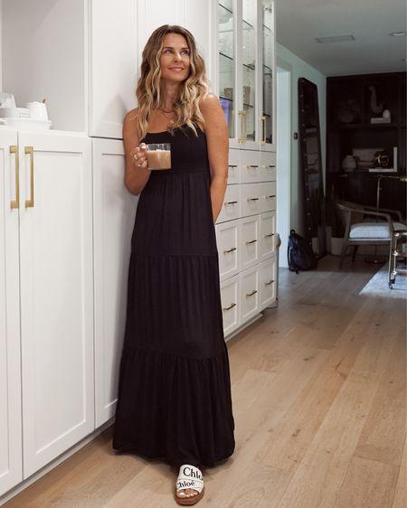 Soft Jersey knit, tiered dress. Built in bra and on sale now! Soma, Herfashionedlife   #LTKSeasonal #LTKunder100 #LTKunder50