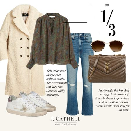 Three different Autumn looks with 1 bag. Thus YSL bag is the just gorgeous brown that compliments each of these looks. Denim, dressy, fun snd flirty.   #LTKunder100 #LTKsalealert #LTKstyletip