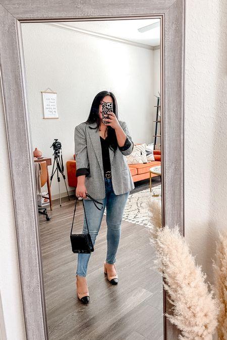 Casual office wear ✨ Walmart skinny jeans | Amazon Cowlneck top | just fab shoes | houndstooth blazer | Rebecca minkoff quilted crossbody | gucci belt    #LTKworkwear #LTKstyletip #LTKunder50