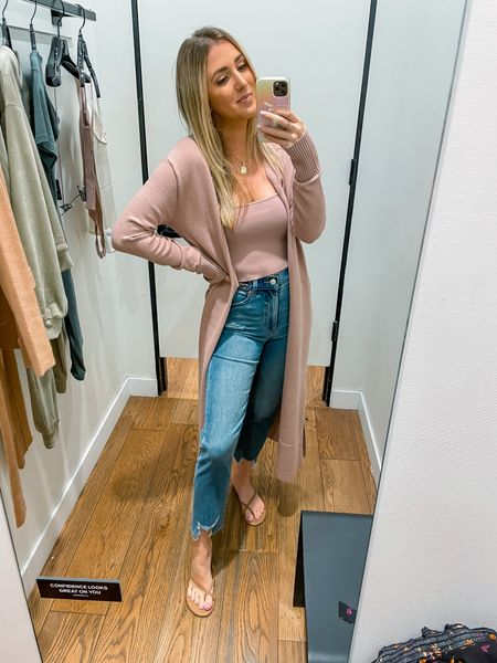 Express is part of the LTK sale!  Jeans are super stretchy and run tts Tie cardigan and crop tank top are so soft and run tts   #LTKunder50 #LTKunder100 #LTKSale