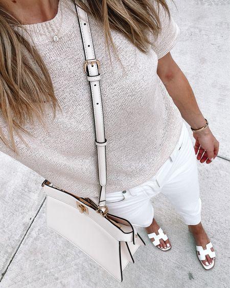 Summer sweater from Amazon (tts) & white jeans (size down) #whitejeans #summeroutfit #sandals http://liketk.it/3ihms #liketkit @liketoknow.it #LTKstyletip #LTKunder100 #LTKunder50