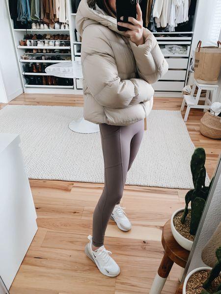 Beige puffer coat. Neutral leggings. Pocket leggings. Everlane leggings. Nike Air Max 270's   Coat - Uniqlo xs Leggings - Everlane xs Sneakers - Nike 6  http://liketk.it/38pTS #liketkit @liketoknow.it