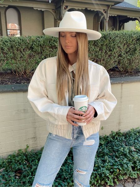 Fall outfit, cream canvas jacket, olive green cropped raw hem Henley shirt, lack of color cream melodic wide brim hat, autumn style, back to school, casual fashion   #LTKstyletip #LTKHoliday #LTKSeasonal