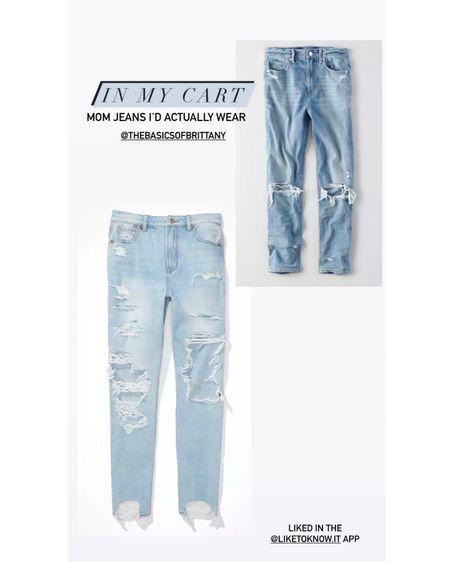 Mom jeans id actually wear - in my cart. Distressed denim, black jeans, light wash, medium wash, jeans, mom jean #LTKunder100 #LTKstyletip #LTKbeauty http://liketk.it/38Reo #liketkit @liketoknow.it