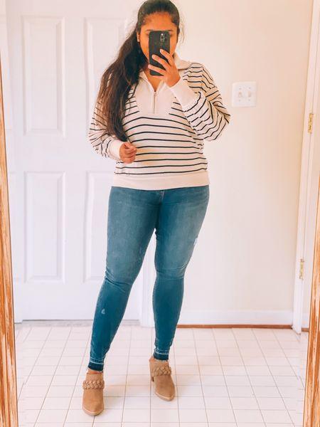 Fall casual look, fall sweaters, Spanx denim, dolce vita booties, braided boots, fall fashion finds, loft sweater, Labor Day sales #ltksalealert  #LTKstyletip #LTKSeasonal #LTKshoecrush