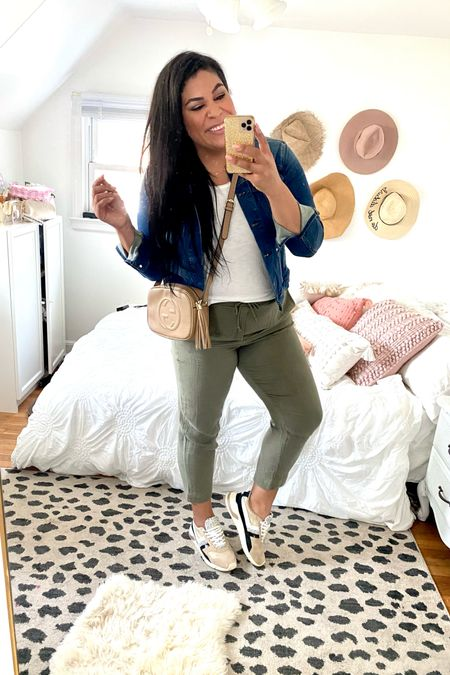 30 days of wear now, wear later midsize outfit ideas for fall!  These linen pants are so lightweight + come in multiples colors + are ON SALE! Use code MORE at Loft — wearing a size L   wear now: with a plain white tee from Target (TTS, XL) with a wit & wisdom nordstrom denim jacket (TTS), really cute Gola shoes (size down) and a neutral crossbody   midsize, mid size, plus size, casual outfits, size 12, size 14, affordable fashion, transitional style, midi dress, casual dress, fall coat, fall outfit ideas, linen pants, casual pants, olive green, loft   #LTKcurves #LTKunder50 #LTKSeasonal