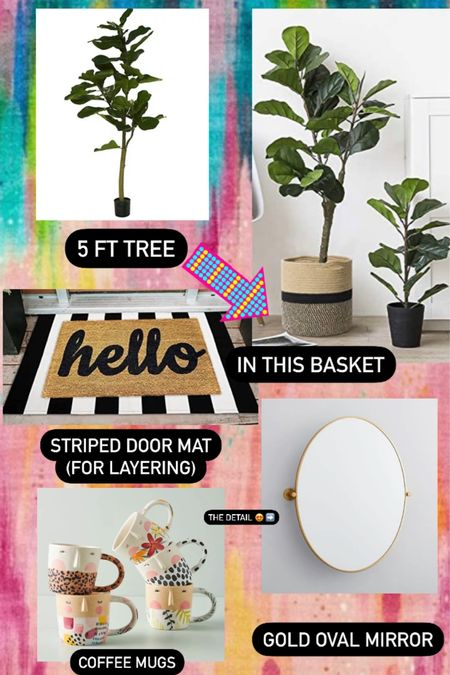 A few favorites this week include this highly rated fiddle leaf tree, modern weaved basket, black & white striped doormat for layering (perfect for summer & transitioning into fall), fun printed mugs, and the gold round mirror with the cool brackets on each side.   #LTKstyletip #LTKhome #LTKunder100