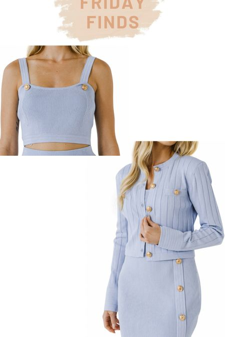 Endless rose blue crop top and cardigan set with gold buttons   #LTKstyletip #LTKSeasonal