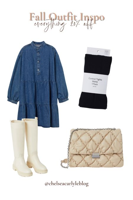 Fall outfit inspo! Add contrast to a denim dress with lighter accessories to make it pop!  | fall | fall outfit | fall dress | denim | jeans | denim dress | purse | boots | fall boots | white boots |   #LTKSeasonal #LTKsalealert #LTKbacktoschool