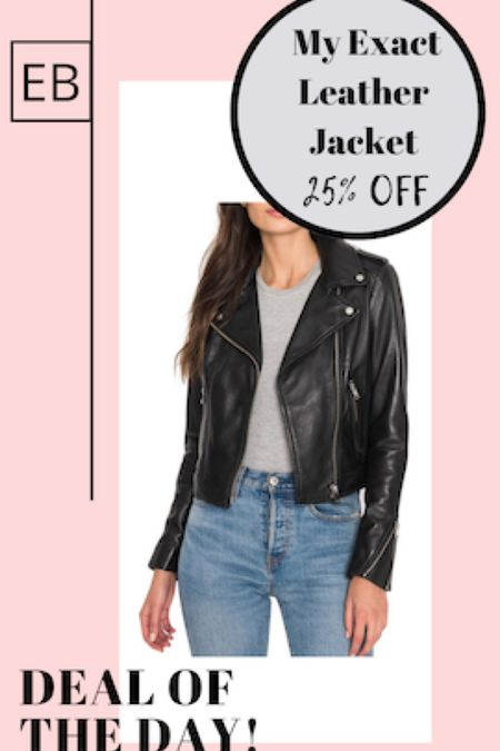 My exact black leather moto jacket is 25% off and stocked in all sizes.  It runs TTS and is also available in brown and bone.  I wear the XS.  http://liketk.it/3aPRm #liketkit @liketoknow.it #LTKsalealert #LTKSpringSale #LTKstyletip Screenshot this pic to get shoppable product details with the LIKEtoKNOW.it shopping app