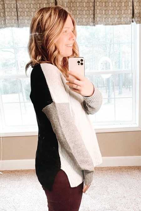 This colorblock sweater from Walmart is on sale for $11!  You can instantly shop all of my looks by following me on the LIKEtoKNOW.it shopping app   http://liketk.it/37yK7 #liketkit @liketoknow.it #LTKsalealert #LTKunder50 #LTKworkwear