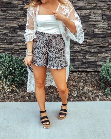 The BEST bargain lace kimono and these sweet shorts. Nice enough for a dinner date but not too fancy. 🙌🏼 Plus my favorite espadrille platform sandals! Use code BAILEY20 for 20% off at Diff!   Download the LIKEtoKNOW.it app to shop this pic via screenshot http://liketk.it/2CkoH #liketkit @liketoknow.it #LTKshoecrush #LTKspring #LTKstyletip #LTKsalealert #LTKunder50