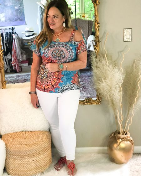 The cutest bohemian print one strap shoulder tee! It pairs wonderful with white jeans and my @capediablo wrap bracelet ( link and discount in bio). I love all shades of orange and turquoise. . . . . . . http://liketk.it/3fDiK #LTKunder50 #LTKcurves #LTKstyletip #liketkit @liketoknow.it.family @liketoknow.it Download the LIKEtoKNOW.it shopping app to shop this pic via screenshot