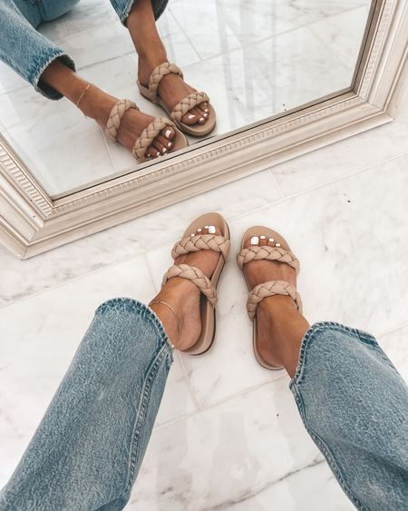 Braided sandals back in stock! Size up half a size.   #LTKshoecrush