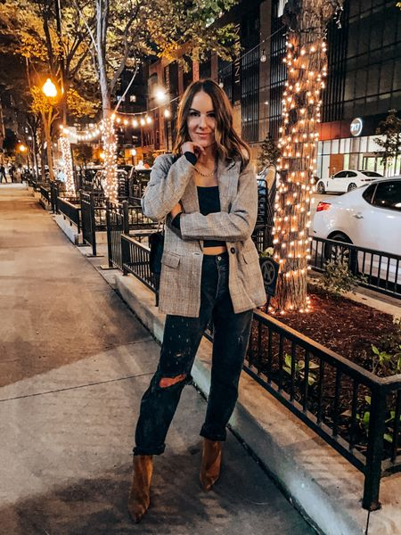 Outfit of the night - wearing s in top, s in blazer (color: light coffee) wearing 26S in jeans, booties tts     #LTKshoecrush #LTKSeasonal #LTKunder100