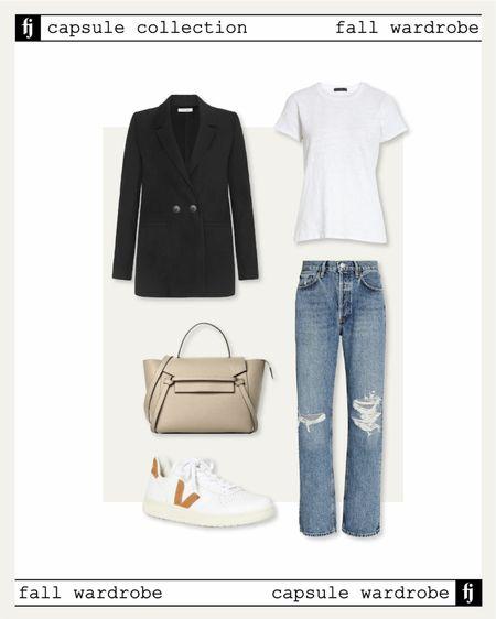 Fall capsule wardrobe, black blazer, white tshirt, Veja sneakers, ripped jeans #falloutfits #veja #sneakers #capsulewardrobe   #LTKshoecrush #LTKstyletip #LTKsalealert