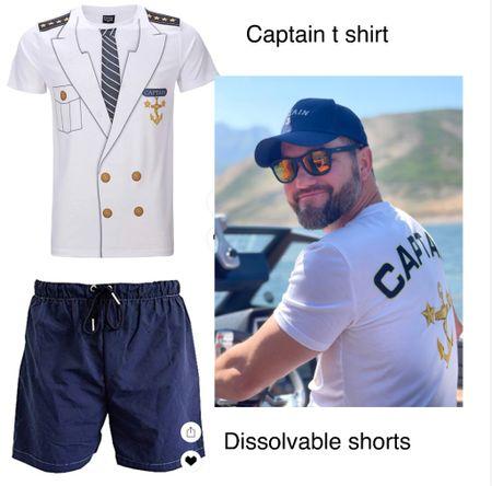 Prank shorts- they dissolve in water & captain t shirt!   #LTKmens #LTKswim