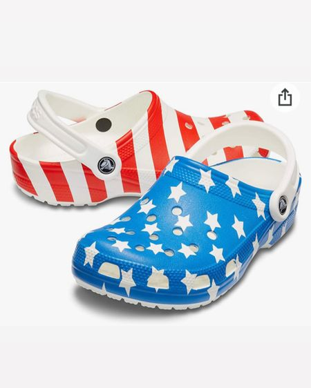Summer sandals / crocs / red white and blue / American flag / patriotic fashion / style / outfit / Memorial Day / 4th of July / Labor Day http://liketk.it/3g81s #liketkit @liketoknow.it #LTKshoecrush #LTKstyletip #LTKunder50