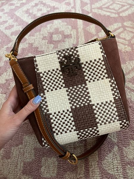 Trendy bag for fall! Tory Burch bag on sale for $227😍 on trend with mixed material and a bold design. I'm also linking the matching gingham crossbody for $174! Fall bag // suede bag // gingham plaid   #LTKbacktoschool #LTKitbag #LTKSeasonal