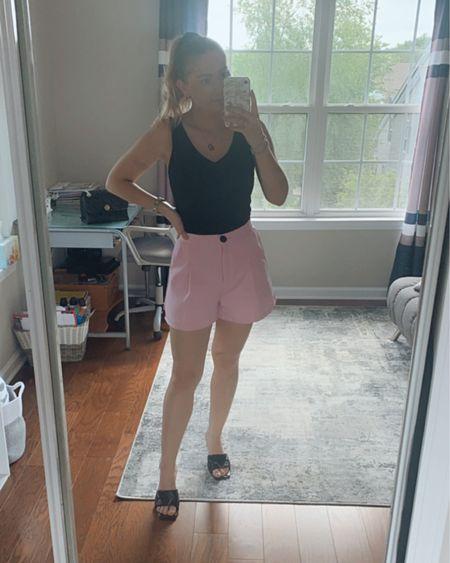 Black body contour body suit with pink shorts. 💕  http://liketk.it/3fVyg #liketkit @liketoknow.it   #LTKstyletip #LTKsalealert #LTKunder100