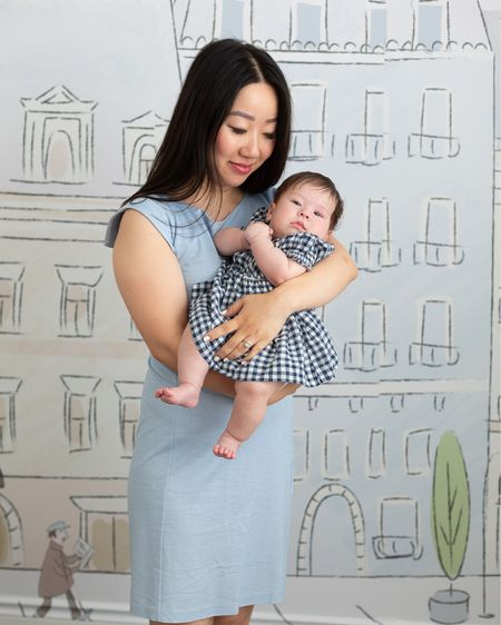 I love taking photos with my baby! Both our dresses are on sale: my MM LaFleur dress is more than 50% off and I love the structured shoulder. April's gingham dress is under $20 and so cute. It's lined and comes with a pair of bloomers. I've linked to our dresses as well as the Parisian themed wallpaper in the nursery.   #LTKbaby #LTKsalealert #LTKhome