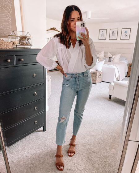 Blouse bodysuit: true to size (S) nursing friendly  Slim straight jeans: true to size (4) Ruched heeled sandals: true to size    #LTKunder50 #LTKshoecrush #LTKstyletip