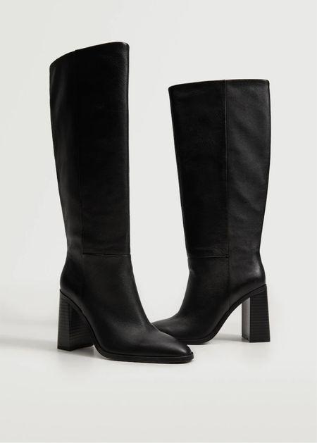 Mango knee high black leather boots   #LTKSeasonal #LTKshoecrush