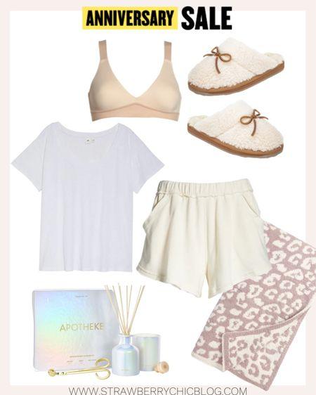 Great lounge basics - pull on shorts, white tee and slippers.   #LTKhome #LTKsalealert
