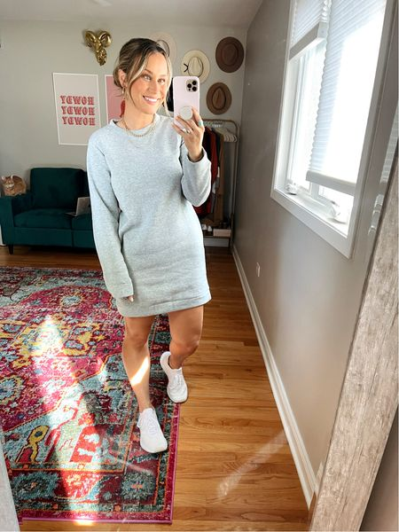 Casual dress for fall: how cute is this sweatshirt dress? and its an amazon find! also linked these white sneakers they are the most comfy tennis shoes.  #LTKtravel #LTKunder50 #LTKfit