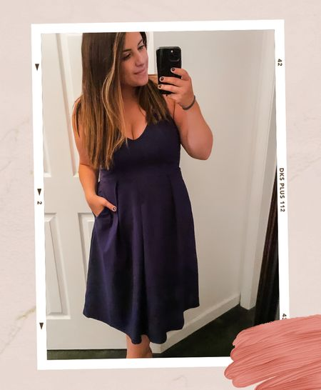 Searched and found the perfect wedding guest dress!   Fits tts- adjustable straps, pockets, midi length! Tons of color options too!     #LTKcurves #LTKwedding #LTKunder50