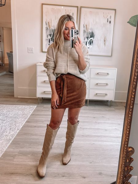 Wearing small in sweater (Alexa20 for discount) // small in skirt (old) // boots tts // fall outfit //   #LTKunder50 #LTKshoecrush #LTKstyletip