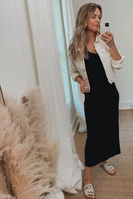 Essential black Midi dress that isn't too tight at the waist! Tan neutral denim jacket, Chloe slides are fully restocked.   #LTKunder100 #LTKtravel #LTKSeasonal