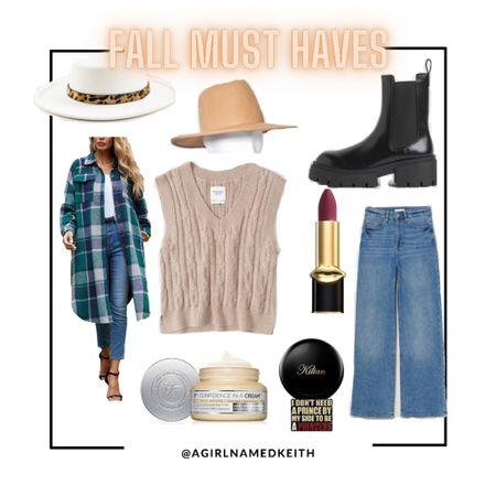 Here are my Fall Must Haves!  Ivory hat from Francesca's Collections  Target style Tan fedora   Amazon find Shacket   Abercrombie & Fitch Camel sweater vest   H&M Chunky Chelsea Boots   H&M high waist loose jeans (size up 1)   Its Cosmetics Confidence in a Cream Hydrating Moisturizer  Pat McGrath MatteTrance Lipstick in Full Blooded-deep wine  Killian Paris Princess Eau de Parfum  #LTKSeasonal #LTKbeauty #LTKstyletip
