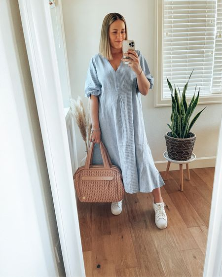 This wide-cut cotton dress is such a fab everyday item to have. Being 7 weeks postpartum, I'm all for loose and flowy clothing items at the moment.   The wide-cut still gives a bit of shape around the waist and the vertical lines creates a flattering look. It's also under $40!  @liketoknow.it #liketkit #LTKstyletip #LTKunder50 #LTKcurves http://liketk.it/3eBag