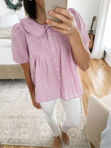 Target blouse with ruffle collar, several colors, oversized fit.  Target, looks for less, women's fashion, casual, southern, coastal, mom outfit, j crew    #LTKstyletip #LTKworkwear