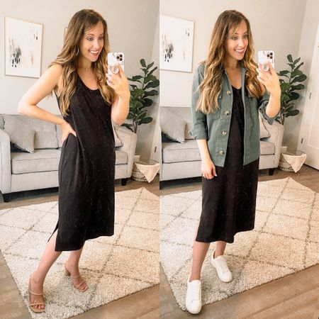 Midi dress // black dress // casual style // affordable style // Walmart style // Walmart fashion     #LTKworkwear #LTKunder50 #LTKstyletip