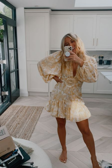 mustard co ord tie dye raffia belted mini dress - Missguided dress - yellow dress - occasionwear dress - occasion wear dress - wedding guest dress - yellow mini dress - summer dress - puff sleeve dress   #LTKsalealert #LTKSale #LTKunder50