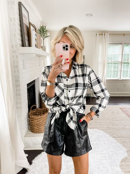 Another way to style this Abercrombie leather shirt is with a flannel tied at the waist.   #LTKstyletip