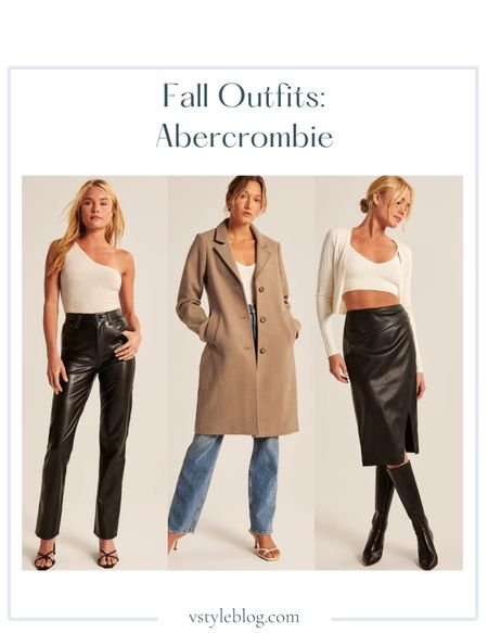Fall outfits, Airport outfit, Fall family photos, Leather pants, One shoulder bodysuit, Wool-blend coat, Leather skirt, Midi skirt, Cardigan crop top set, Sale alert, LTK Day Sale  Abercrombie  Vegan Leather 90s Straight Pants ($99) Ribbed One-Shoulder Bodysuit ($55) Wool-Blend Dad Coat ($220) Vegan Leather Ruched Midi Skirt ($69) Ribbed Knit Bralette and Cardigan Set (was $75, now $48.99)  #LTKsalealert #LTKunder50 #LTKSale