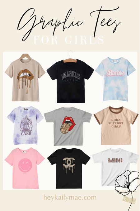 Graphic tees for girls 🖤   Girls fashion   graphic tees   kids style  mommy & me style    #LTKSeasonal #LTKunder50 #LTKkids