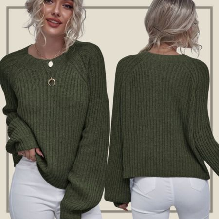 Raglan sleeve rib knit sweater  #LTKstyletip #LTKunder50 #LTKunder100
