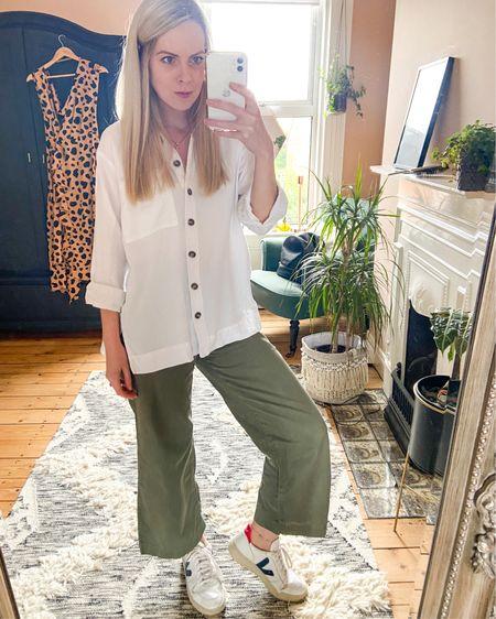 http://liketk.it/2PhPq #liketkit @liketoknow.it @liketoknow.it.family @liketoknow.it.home @liketoknow.it.europe #LTKworkwear #LTKunder50 #LTKfamily wide leg trousers, wide leg trouser outfit, casual outfit styles, white linen shirt, Veja trainers, wide leg pants, khaki wide leg pants,  linen boyfriend shirt, casual outfit ideas