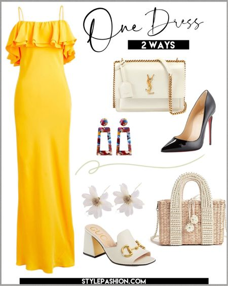 The perfect dress for vacation. This yellow dress is so versatile and can be styled endlessly;) I have 2 styling options for you to shop ! #vacationoutfit #summerdress #weddingguestdress #datenightdress  #LTKstyletip #LTKshoecrush #LTKitbag