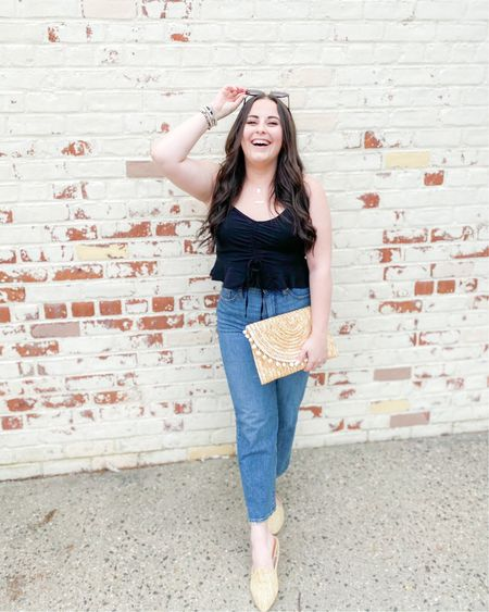 Target style: Vintage straight leg jeans (size up) Cropped tie up tank (size up) Straw accessories   http://liketk.it/3fO7P #liketkit @liketoknow.it #LTKunder50 #LTKstyletip #LTKunder100