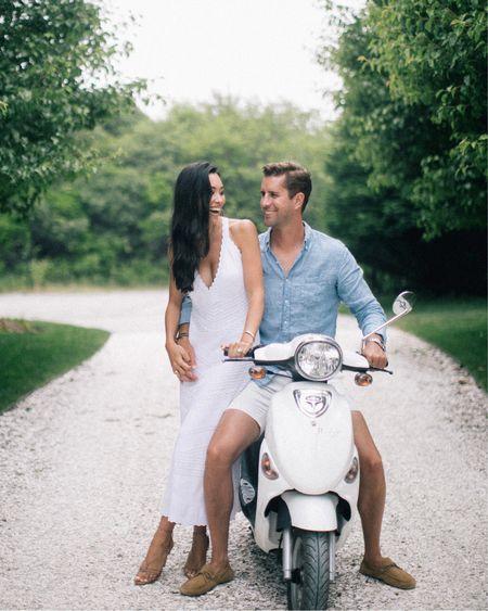 Engagement photo idea - white dress and linen shirt.   #LTKmens #LTKstyletip #LTKwedding